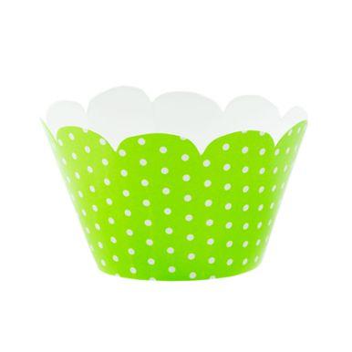 Wrap-Para-Cupcake-Verde-Limao-com-Poa-Branco