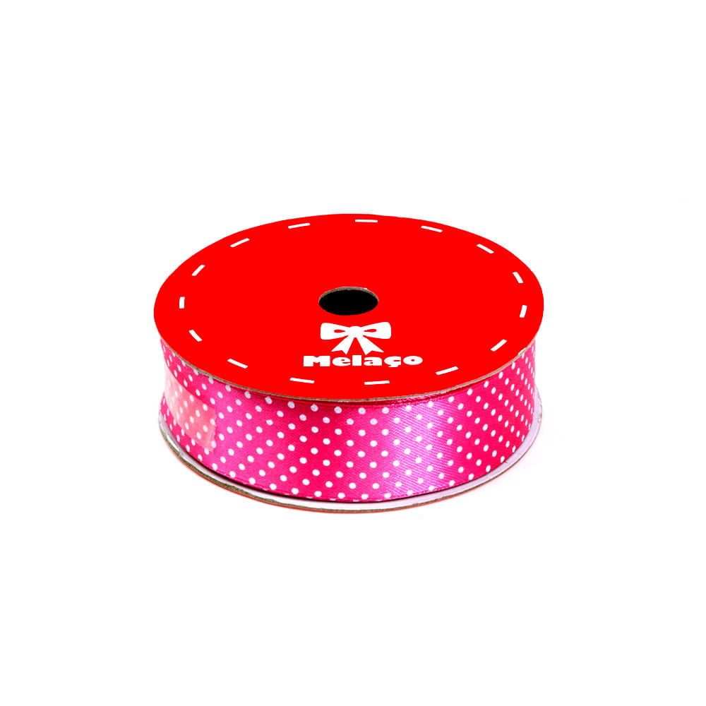 Fita De Cetim Melaço 25mm C / 10 Metros Pink C / Poá Branco