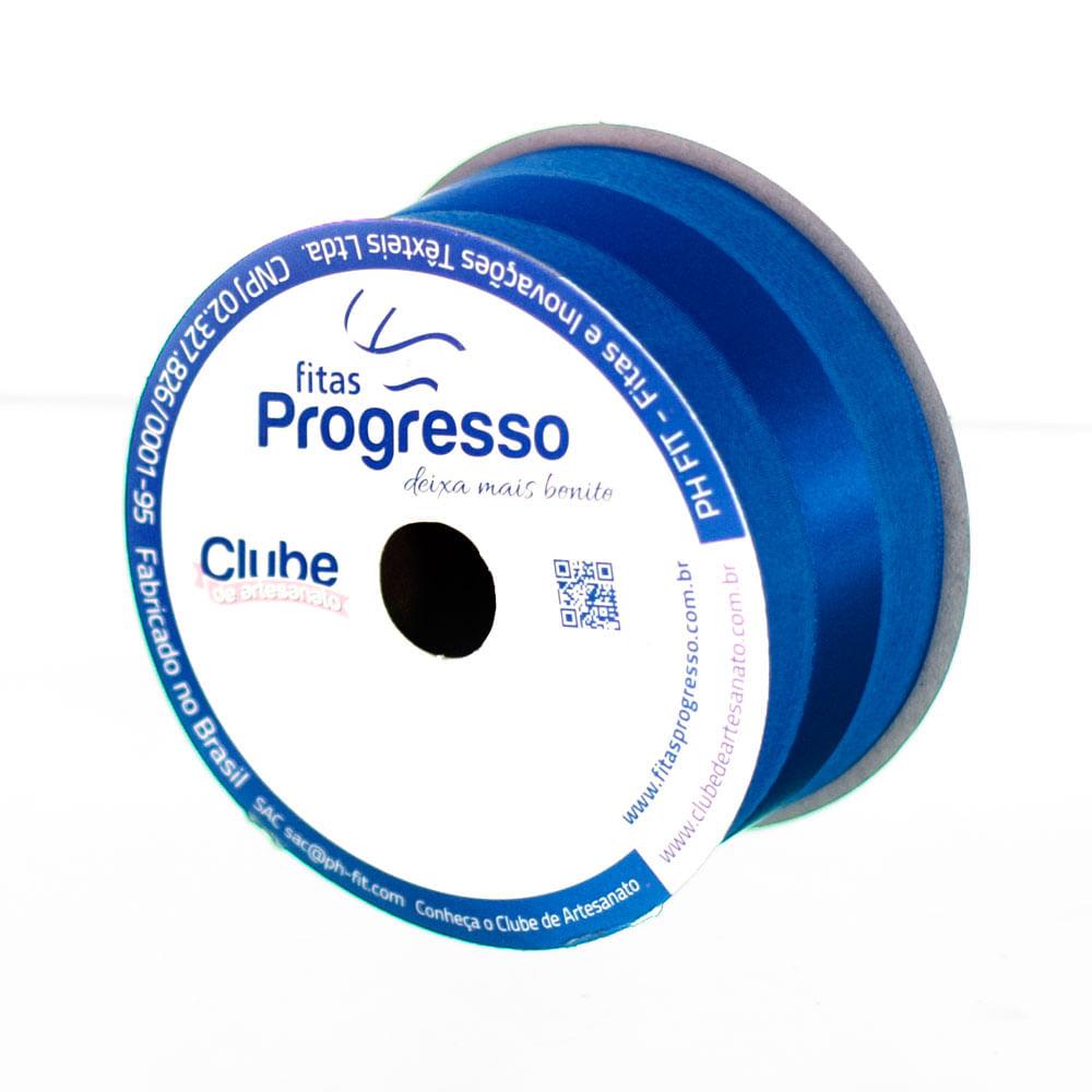 Fita Voil Com Cetim Ph Fit 38mm C / 10 Metros Cor 276 Azul Pavão