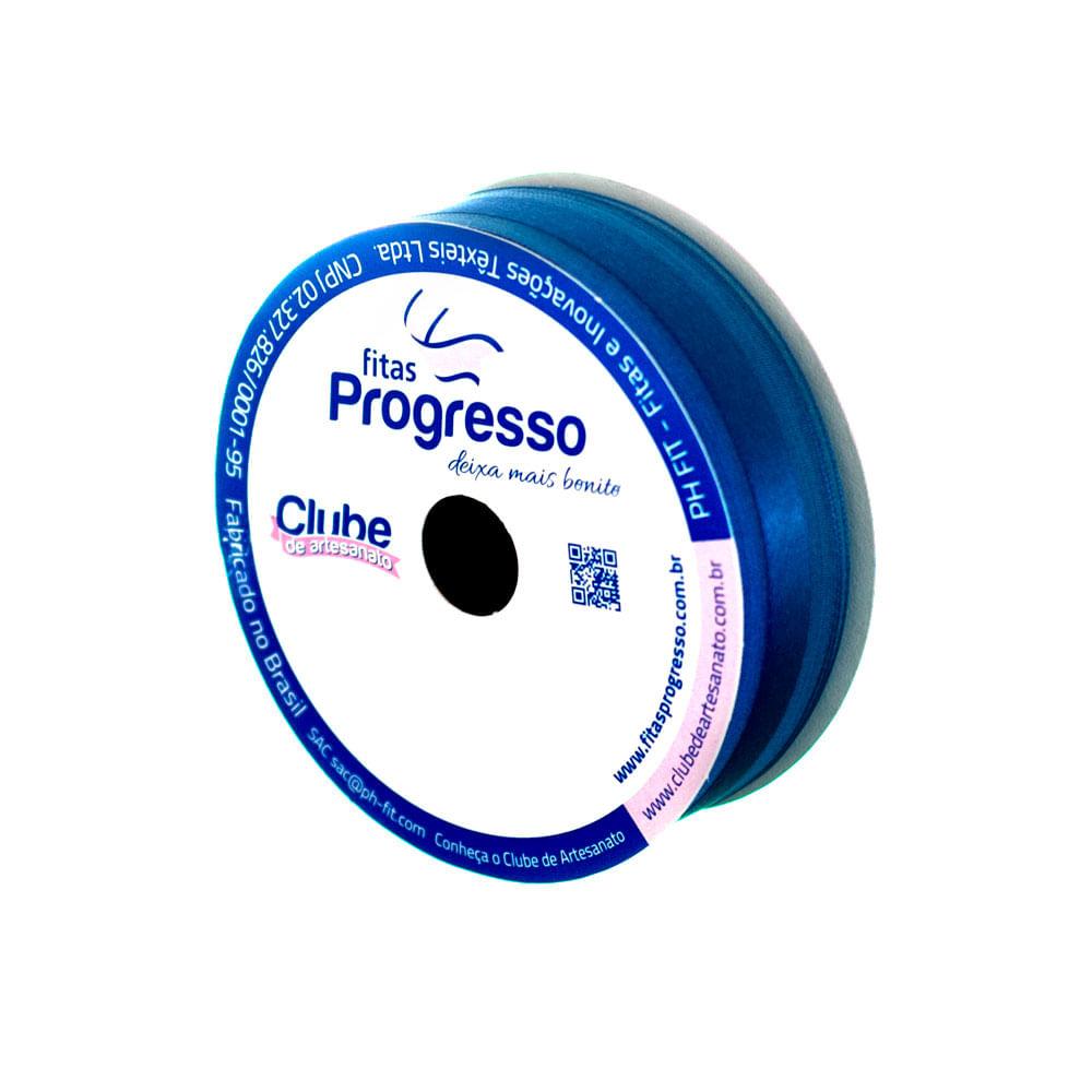 Fita Voil Com Cetim Ph Fit 22mm C / 10 Metros Cor 276 Azul Pavão