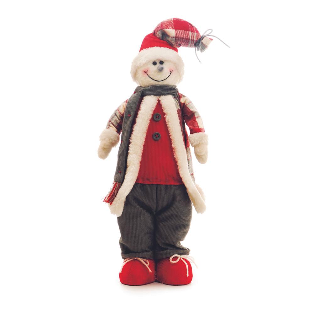 Boneco de neve em pé com roupa vermelha e cinza - Cod. Cromus: 1212787 Único