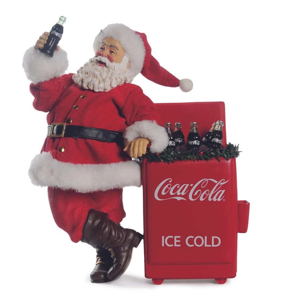 Papai Noel segurando garrafa de Coca - Cola e geladeira com garrafas: 1443334 Alt. 26,00 x Larg. 22,00 PT C / 1 UN - Cor: vermelha Único