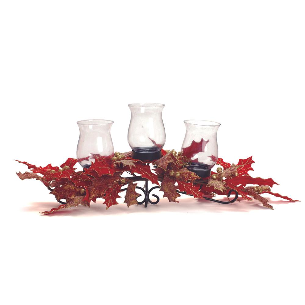 Arranjo porta vela para 3 velas cor vermelha: 1515492 Alt. 15,00 x Larg. 70,00 PT C / 1 UN Único