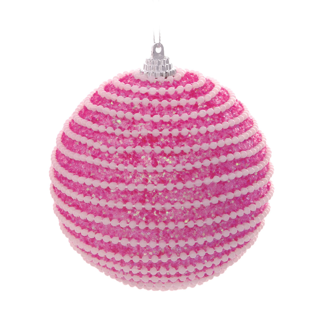 Bola rosa com cordões brancos 10cm c / 6 unidades: 1416602 Único