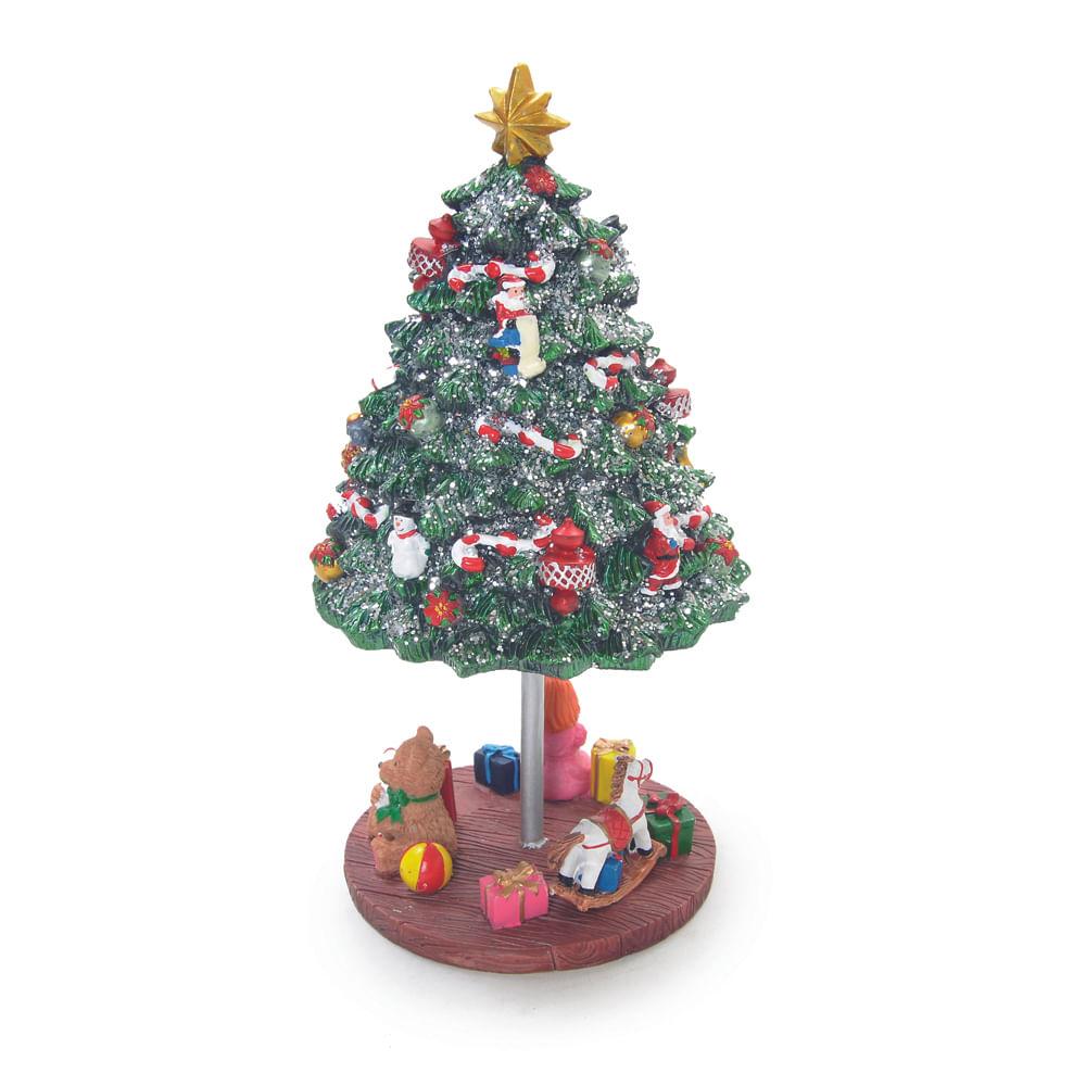 Árvore de natal musical colorida com criança, cavalo, menina e presentes com base de ferro giratória à corda - Cod. Cromus: 1619001 Único