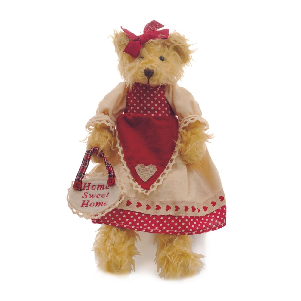 Ursa de pelúcia bege, com vestido bege com detalhes vermelho de bolinhas brancas, segurando coração na mão escrito c / 4 Und: 1210147 Único