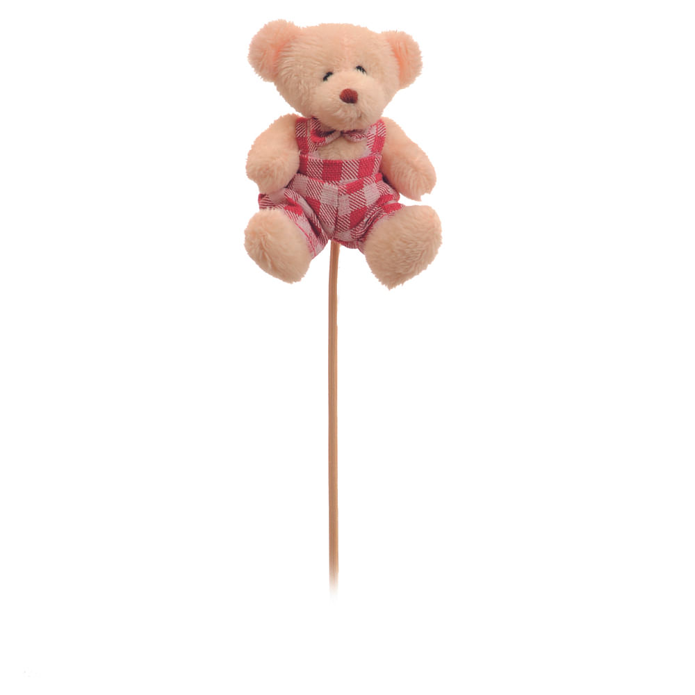 Urso roupa xadrez pink no palito c / 6 Und: 1214396 Único