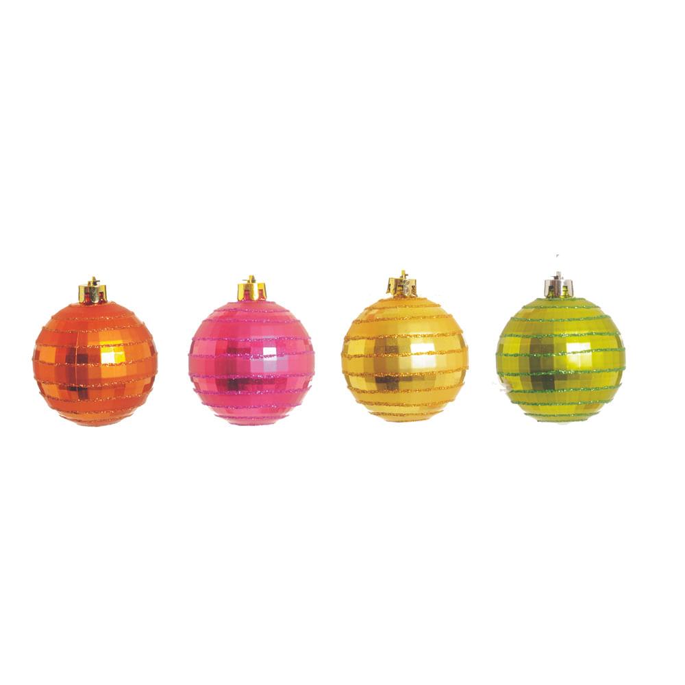 Bola bronze, verde, rosa e ouro 6cm c / 4 Und: 1316175 Único