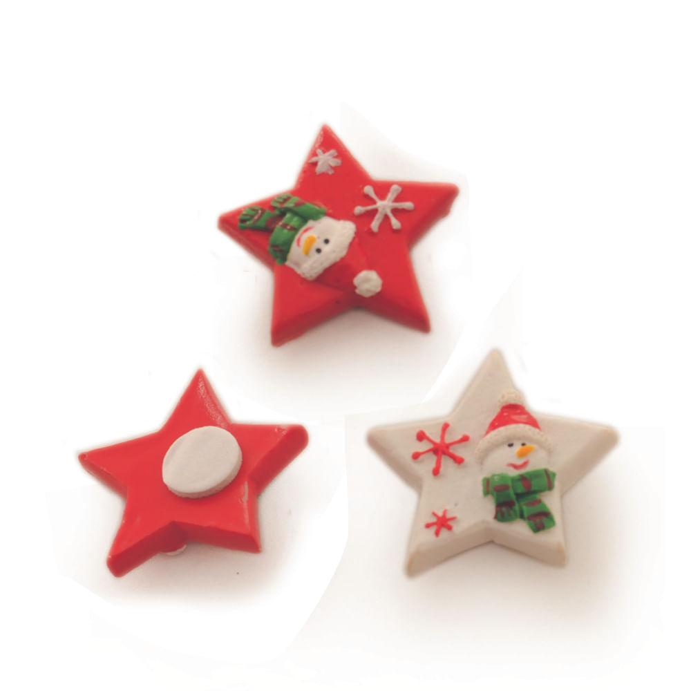 Adesivo de estrela com boneco de neve. 6 JG c / 12 Und: 1311080 Único