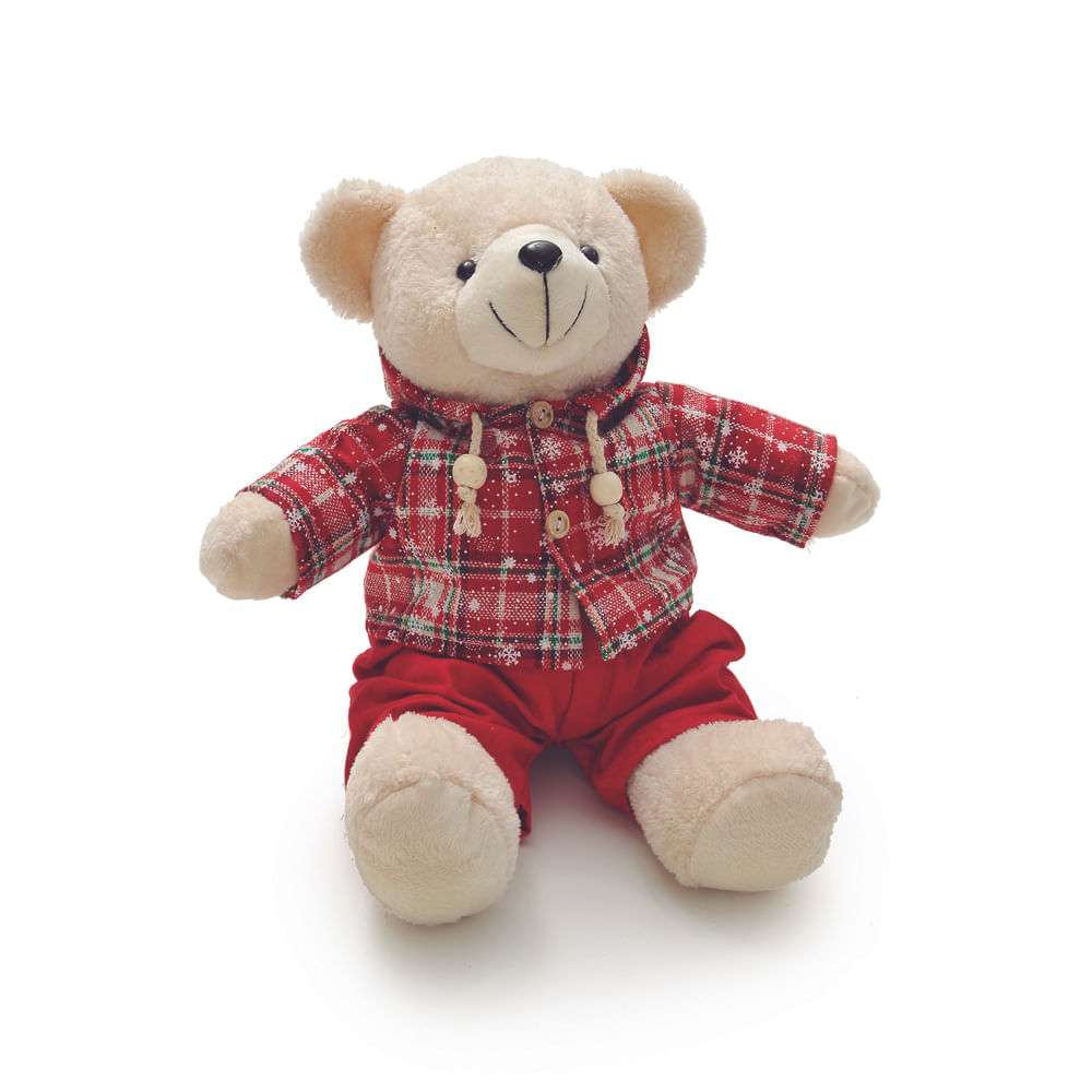 Urso com roupa xadrez c / 2 unidades: 1513673 Único
