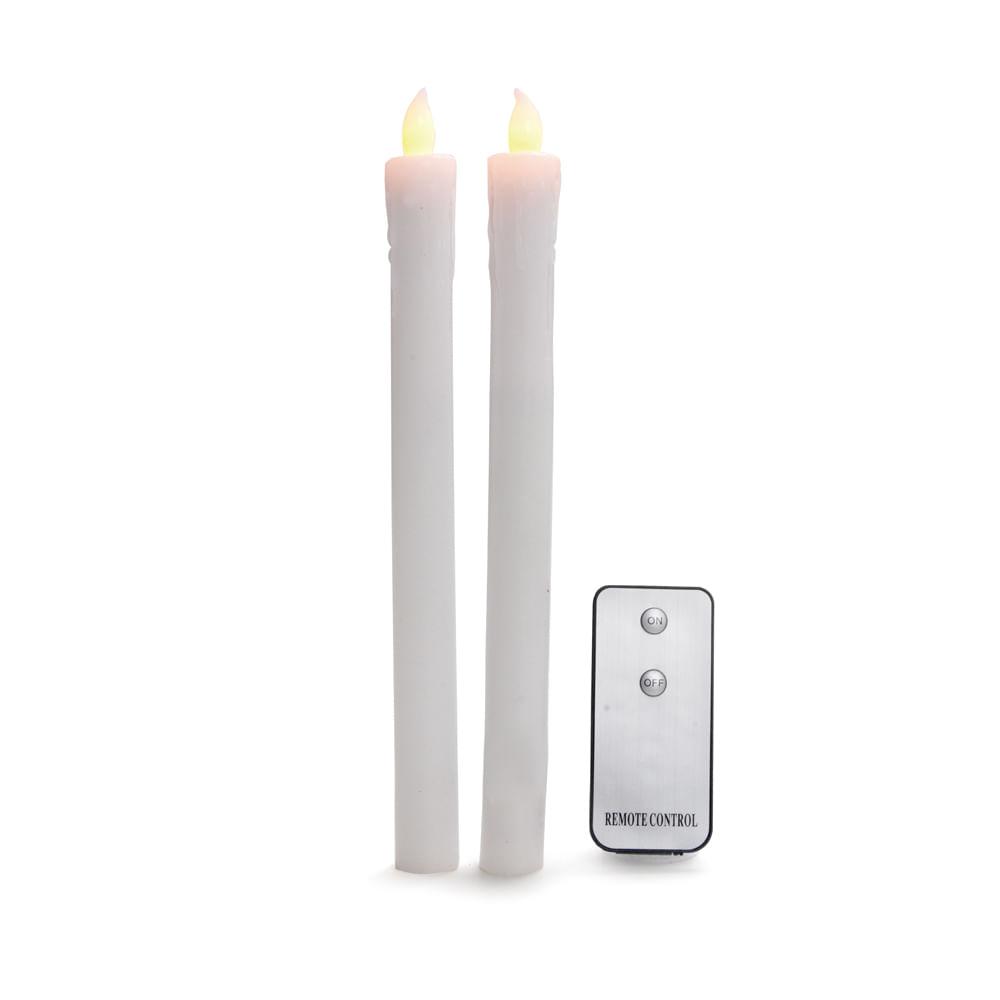 Jogo de 2 velas eletrônicas de cera com controle - 6 JG C / 2unidades: 1553063 Único