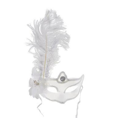 mascara-branca-com-pluma-branca