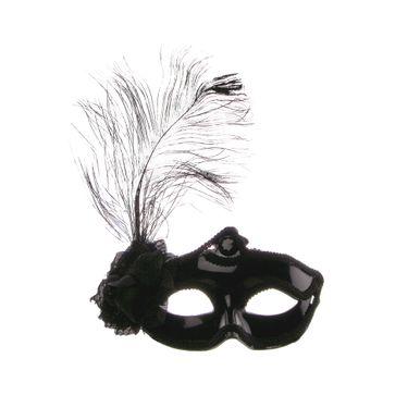 mascara-branca-com-pluma-preto