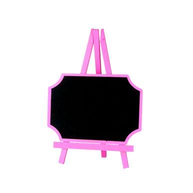 Lousa-C-cavalete-20x28cm-Retangular-C-canto-Curvo-Rosa-C01-Unidade