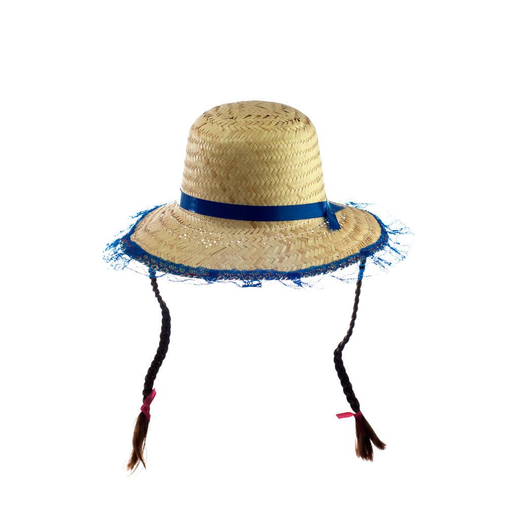 Chapéu De Palha Fofão Com Trança Azul - Central 25 b61e26ee1b6