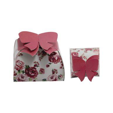 caixa bem casado floral rosa