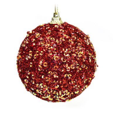 bola vermelha decorada com lantejoulas