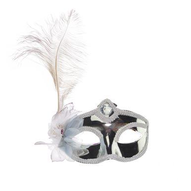 mascara-branca-com-pluma-prata
