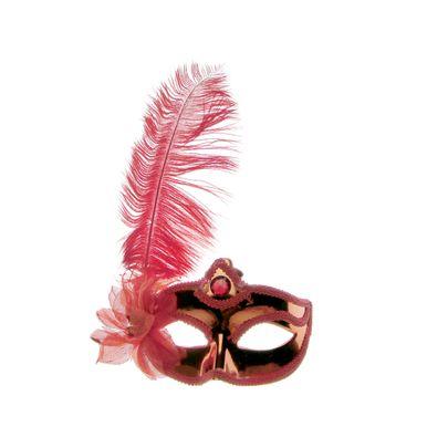 mascara-branca-com-pluma-vermelho