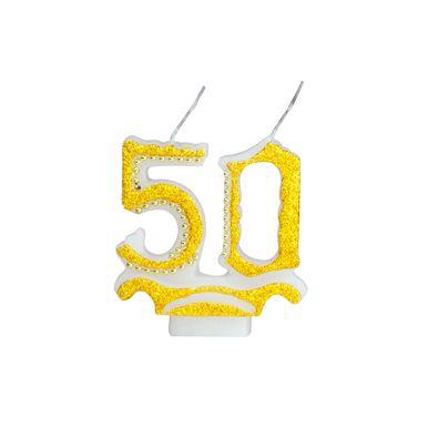 vela-50-anos-glitter-dourada