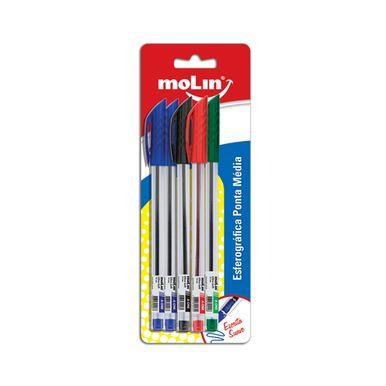 Caneta-Esferografica-Molin-Ponta-Media-C-5-Unidades---Azul-Vermelha-Preta-e-Verde