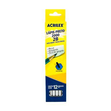 Lapis-grafite-acrilex-2B-com-12-unidades