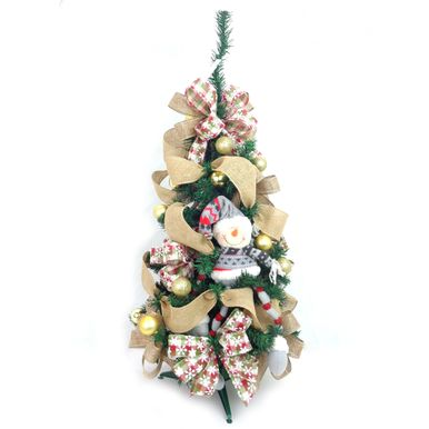 Arvore-de-Natal-Decorada-Portobelo-Verde-90cm-Boneco-de-Neve-7252500001003